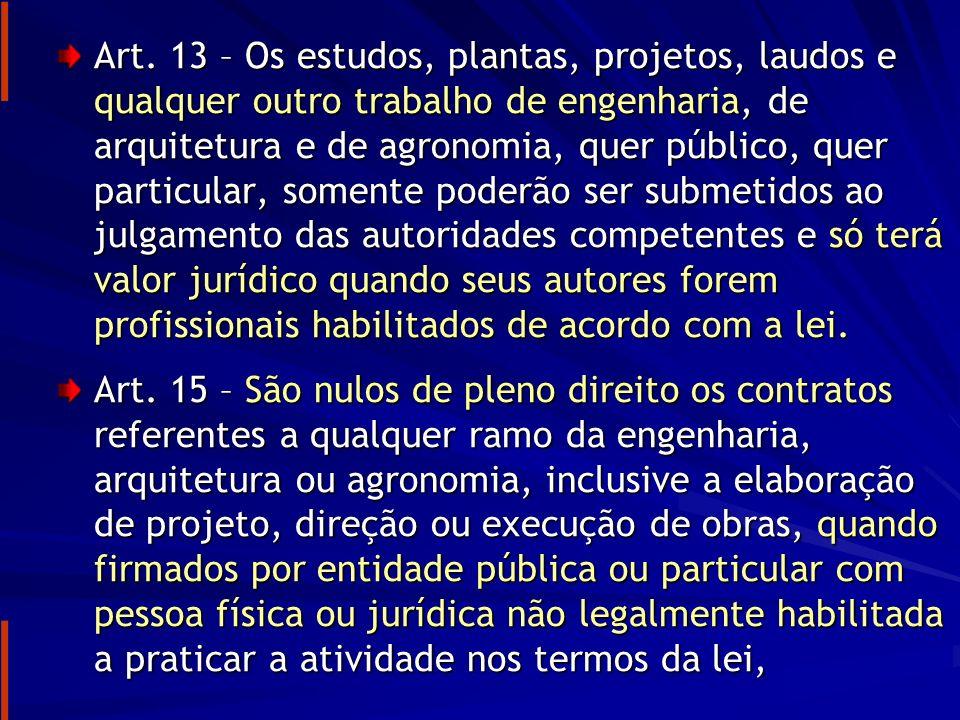ART – ANOTAÇÃO DE RESPONSABILIDADE TÉCNICA Lei nº 6.496/77 Art.