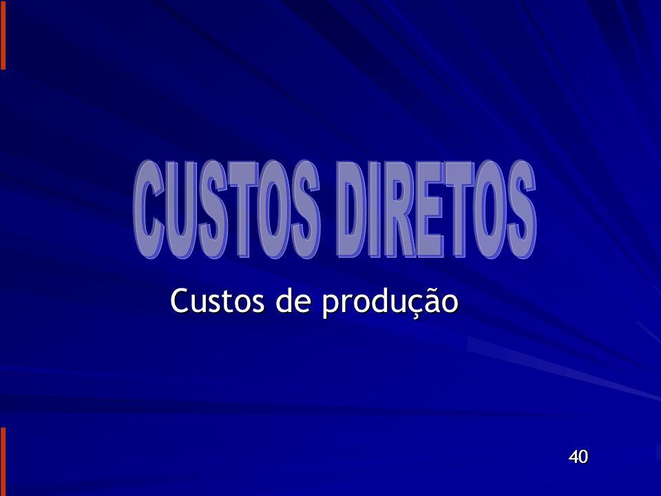 DEFINIÇÕES DE CUSTO CUSTO DIRETO = CUSTO DIRETO = = CUSTO DE PRODUÇÃO = = CUSTO DE PRODUÇÃO = = CUSTO DA OBRA = = CUSTO DA OBRA = = CENTRO DE CUSTO = = CENTRO DE CUSTO = = CUSTO DIRETO = = CUSTO DIRETO = = CUSTO = CUSTO