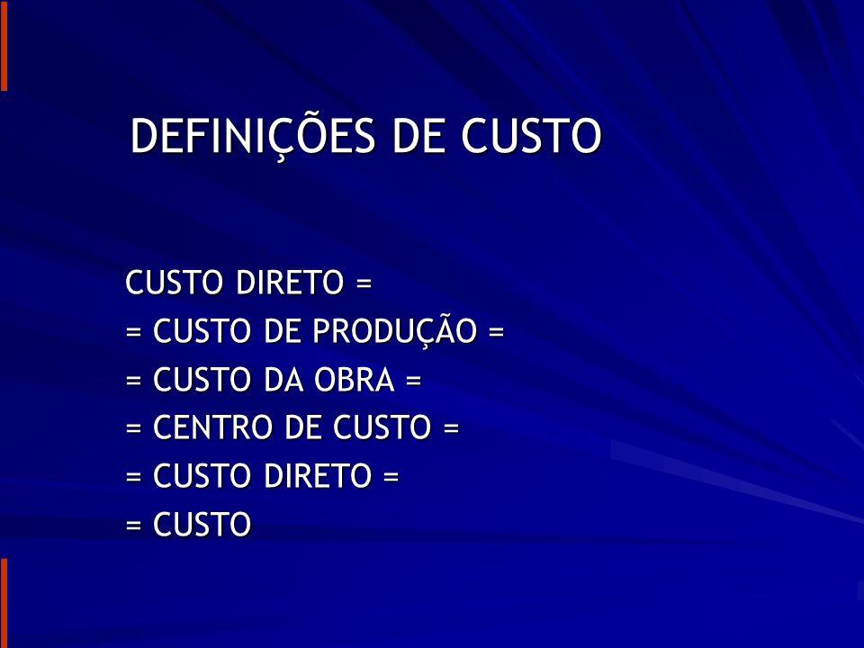 PLANILHA DE CUSTOS ( chamado também de planilha de custos diretos) Os custos podem ser divididos em: Custos diretos (custos unitários) Outros Custos (custos indiretos)