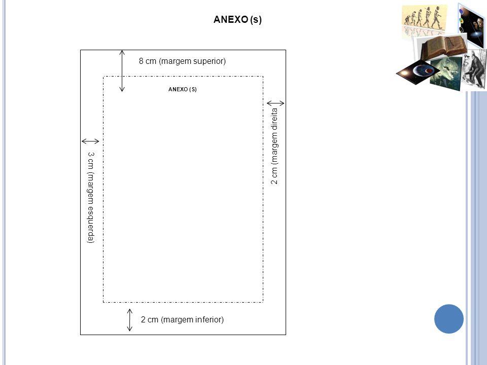 ANEXO (s) 8 cm (margem superior) 3 cm (margem esquerda) 2 cm (margem direita 2 cm (margem inferior) ANEXO (S)