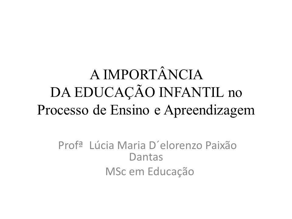 A IMPORTÂNCIA DA EDUCAÇÃO INFANTIL no Processo de Ensino e Apreendizagem Profª Lúcia Maria D´elorenzo Paixão Dantas MSc em Educação