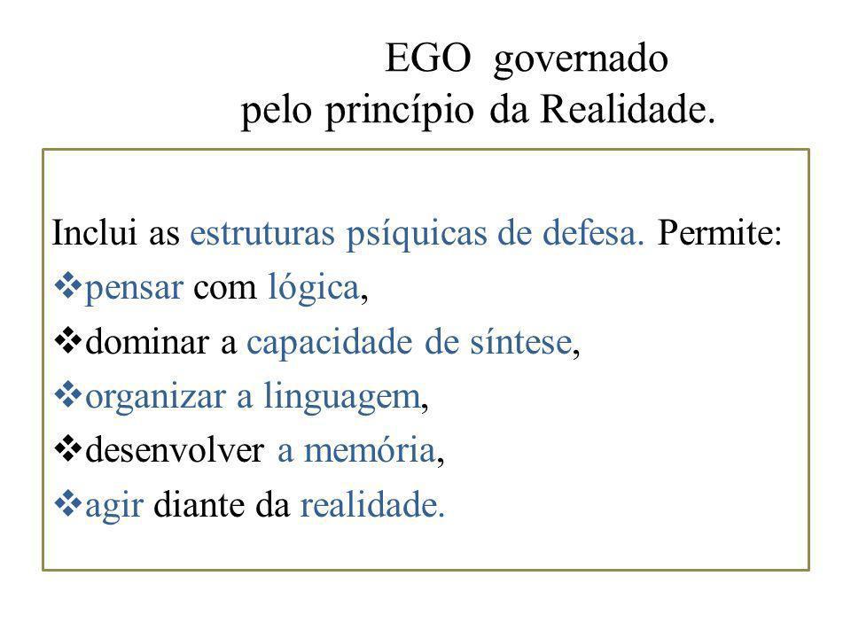 EGO governado pelo princípio da Realidade. Inclui as estruturas psíquicas de defesa. Permite: pensar com lógica, dominar a capacidade de síntese, orga