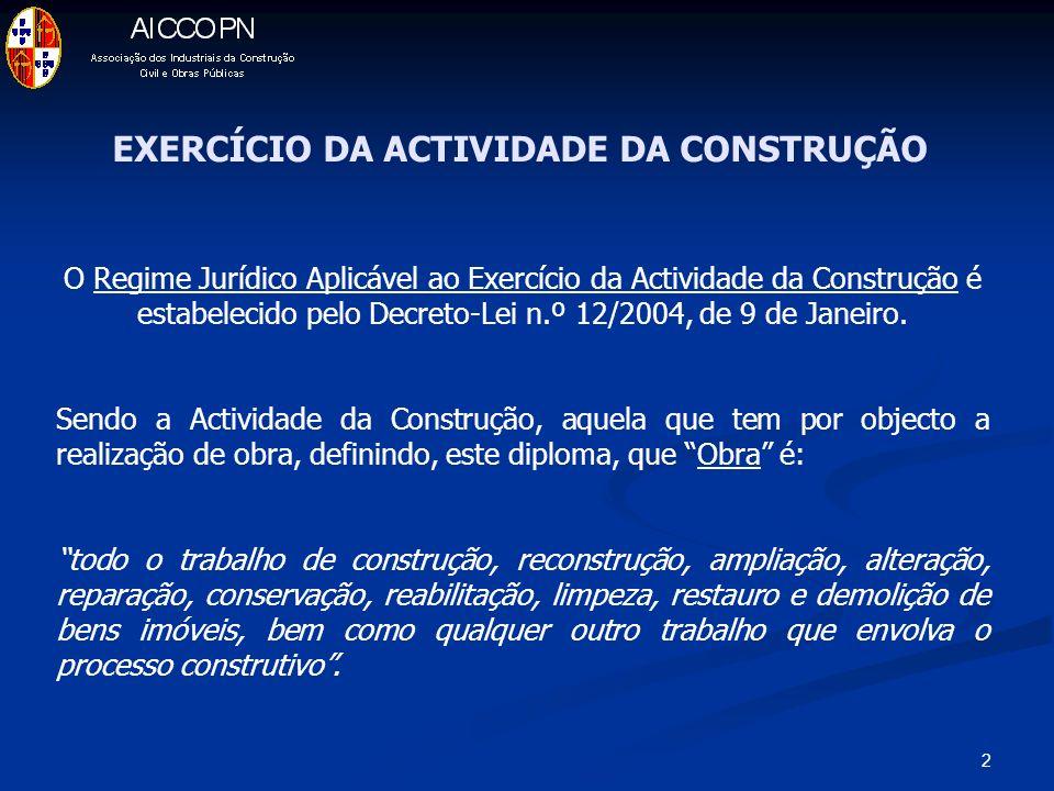 2 EXERCÍCIO DA ACTIVIDADE DA CONSTRUÇÃO O Regime Jurídico Aplicável ao Exercício da Actividade da Construção é estabelecido pelo Decreto-Lei n.º 12/2004, de 9 de Janeiro.
