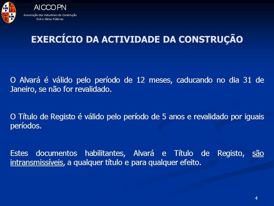 4 EXERCÍCIO DA ACTIVIDADE DA CONSTRUÇÃO O Alvará é válido pelo período de 12 meses, caducando no dia 31 de Janeiro, se não for revalidado. O Título de
