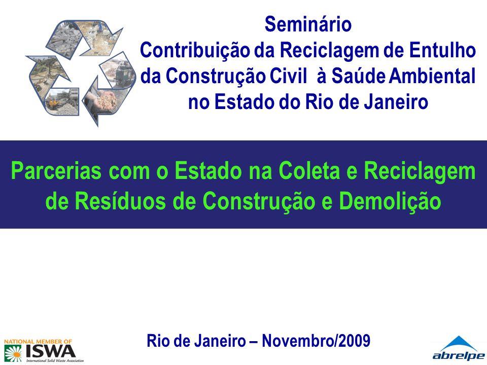 SÍNTESE – Panorama Brasileiro Apenas 88% das 52,9 milhões de toneladas de RSU geradas por ano são coletadas com regularidade; A destinação final de resíduos ainda é o principal problema; O total de resíduos de responsabilidade dos geradores (RCD, RSS, RSI, etc) é desconhecido; Informalidade ainda muito presente nas diversas cadeias; Ausência de marco legal nacional.