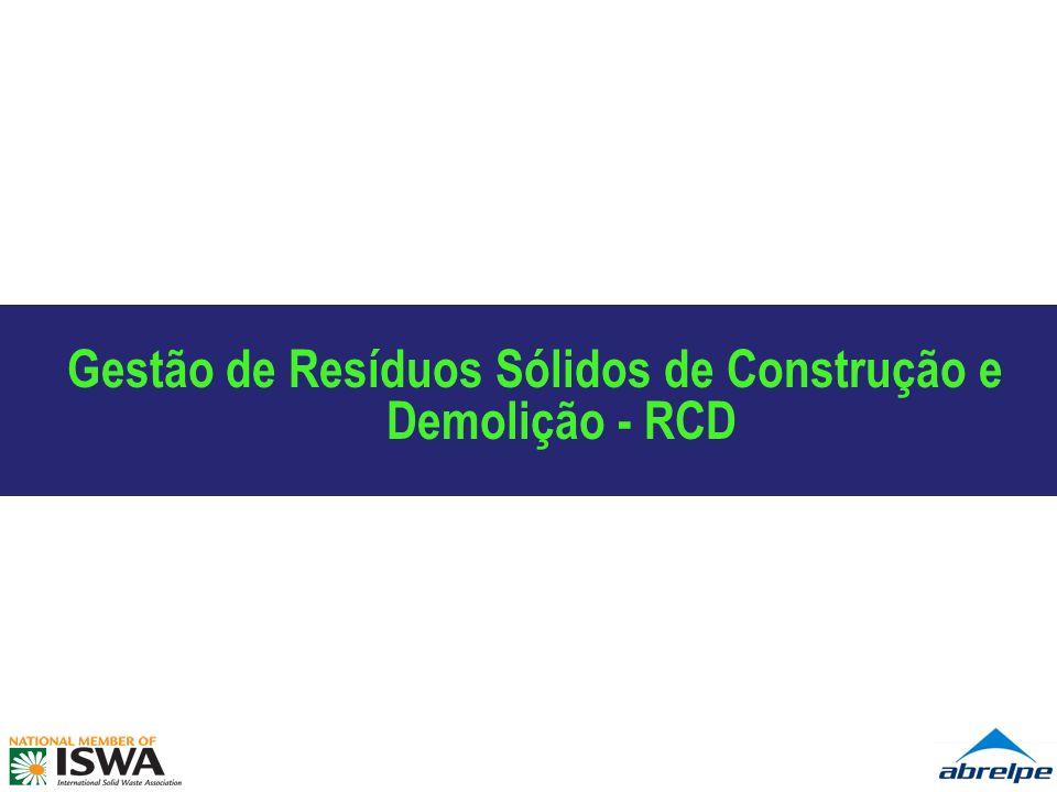 Conceito, Princípios e Enfoque de Gestão I – Conceito: Resíduos de construção e demolição (RCD): são os provenientes de construções, reformas, reparos e demolições de obras de construção civil, e os resultantes da preparação e da escavação de terrenos, tais como: tijolos, blocos cerâmicos, concreto em geral, solos, rochas, metais, resinas, colas, tintas, madeiras e compensados, forros, argamassa, gesso, telhas, pavimento asfáltico, vidros, plásticos, tubulações, fiação elétrica etc., comumente chamados de entulho, caliça ou metralha.