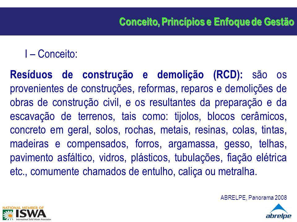 Conceito, Princípios e Enfoque de Gestão I – Conceito: Resíduos de construção e demolição (RCD): são os provenientes de construções, reformas, reparos