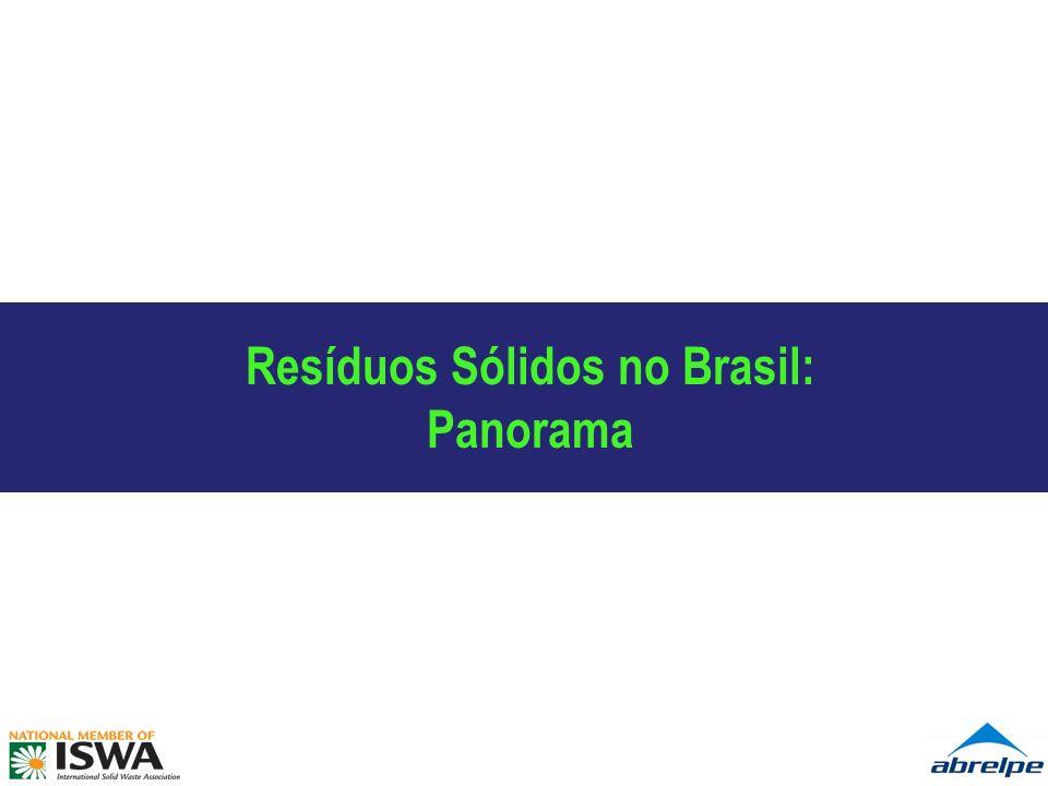 Resíduos Sólidos Urbanos – Brasil Síntese Brasil – 2008 (t/ano): Geração, Coleta e Destinação de RSU 52,9 milhões toneladas/ano Geração 46,5 milhões toneladas/ano Coleta Destinação 12% Fonte: Panorama ABRELPE 2008