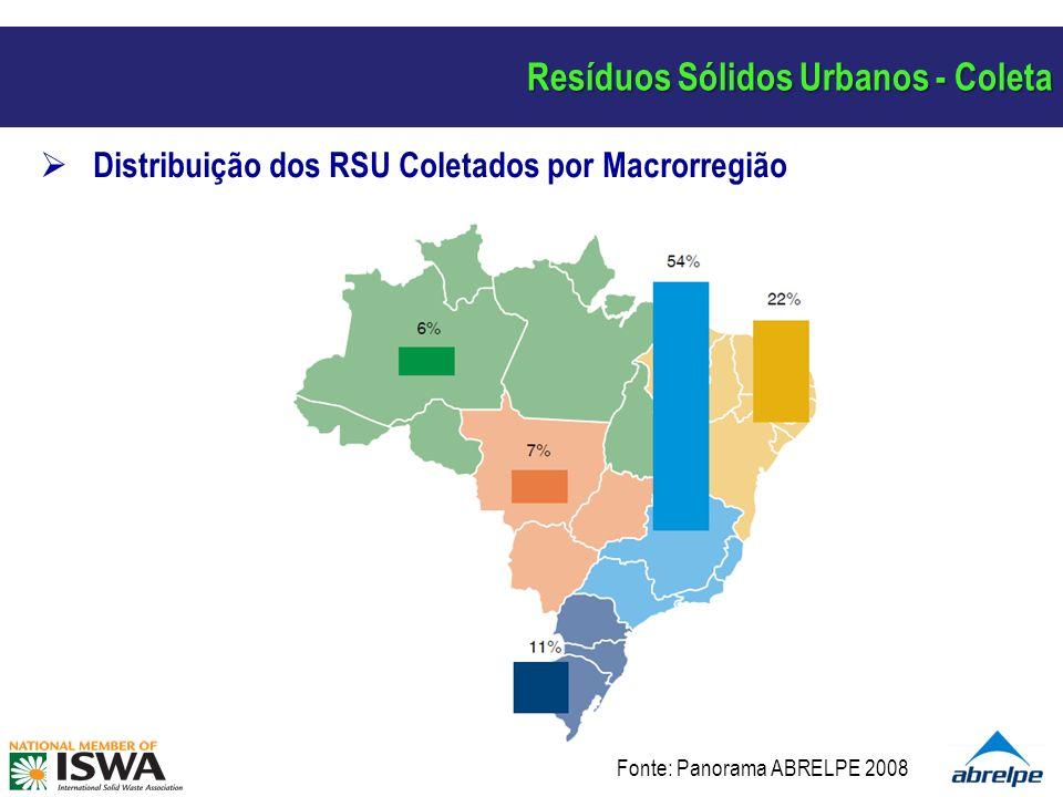 Resíduos Sólidos Urbanos - Coleta Distribuição de RCD Coletados por Municípios em 2008 (t/dia) Fonte: Panorama ABRELPE 2008