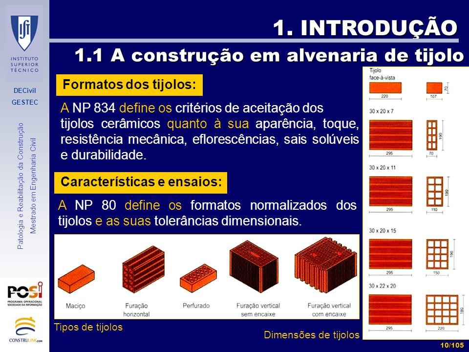 DECivil GESTEC 10/105 Patologia e Reabilitação da Construção Mestrado em Engenharia Civil 1. INTRODUÇÃO 1.1 A construção em alvenaria de tijolo 1.1 A