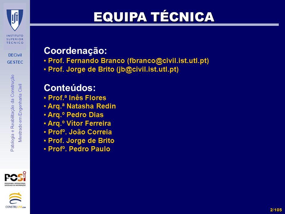 DECivil GESTEC 2/105 Patologia e Reabilitação da Construção Mestrado em Engenharia Civil EQUIPA TÉCNICA Coordenação: Prof. Fernando Branco (fbranco@ci