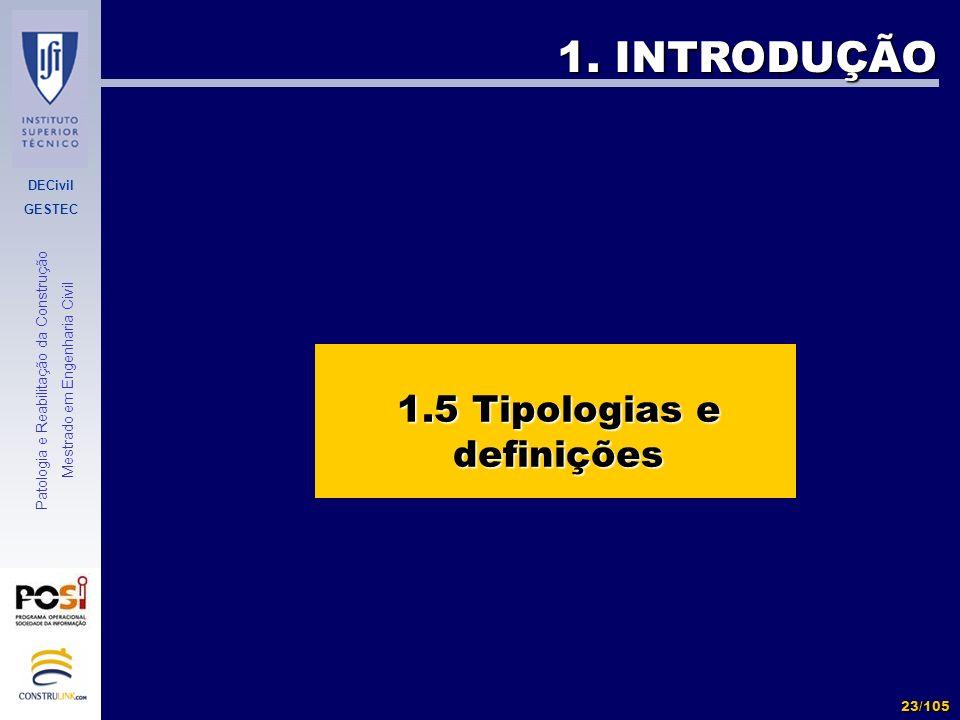DECivil GESTEC 23/105 Patologia e Reabilitação da Construção Mestrado em Engenharia Civil 1. INTRODUÇÃO 1.5 Tipologias e definições