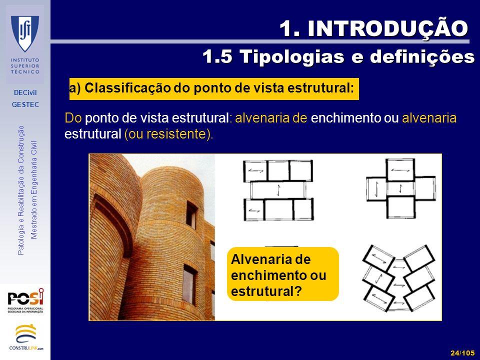 DECivil GESTEC 24/105 Patologia e Reabilitação da Construção Mestrado em Engenharia Civil 1. INTRODUÇÃO Do ponto de vista estrutural: alvenaria de enc