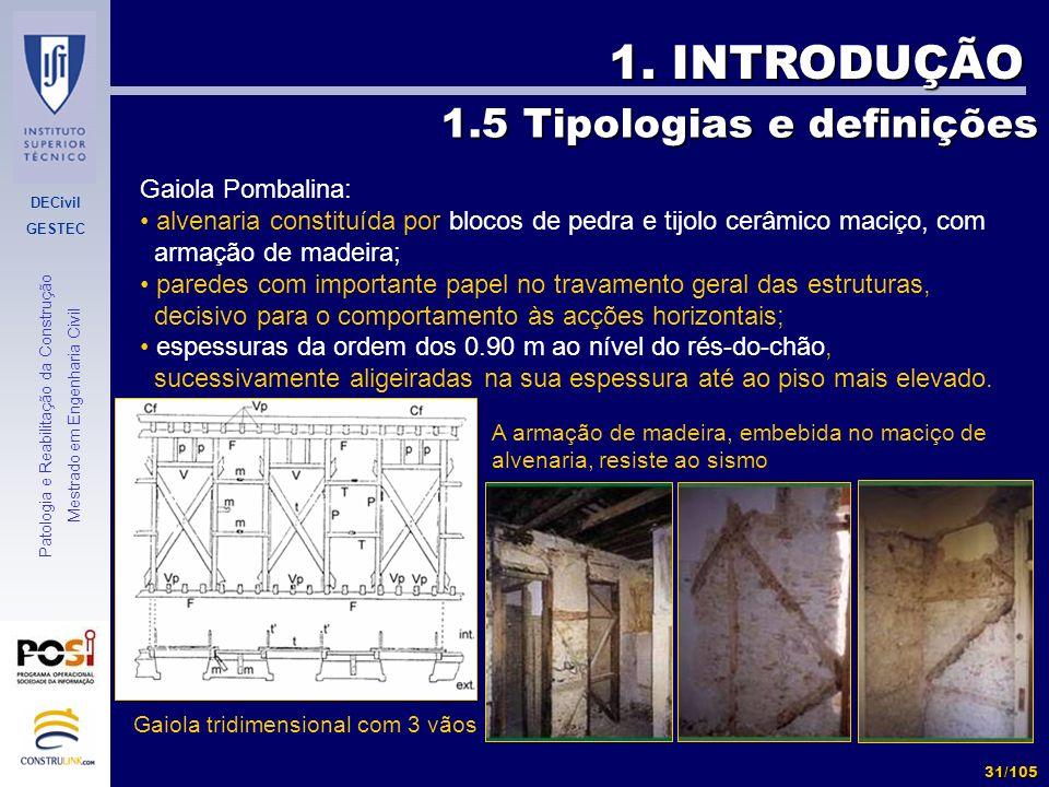 DECivil GESTEC 31/105 Patologia e Reabilitação da Construção Mestrado em Engenharia Civil 1. INTRODUÇÃO 1.5 Tipologias e definições Gaiola tridimensio