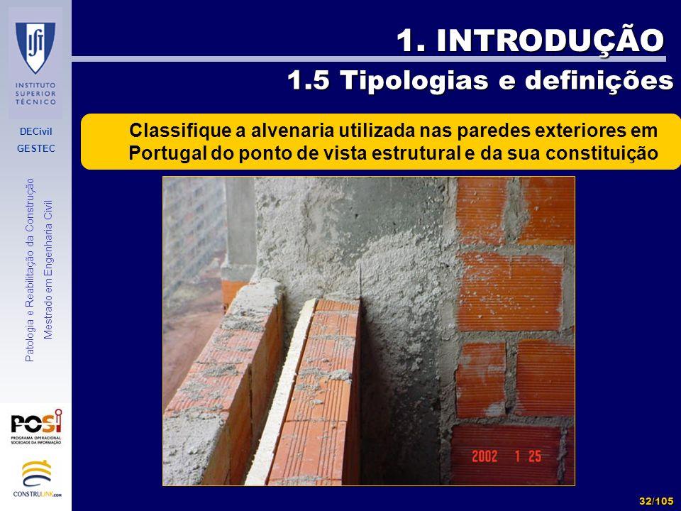 DECivil GESTEC 32/105 Patologia e Reabilitação da Construção Mestrado em Engenharia Civil 1. INTRODUÇÃO 1.5 Tipologias e definições Classifique a alve