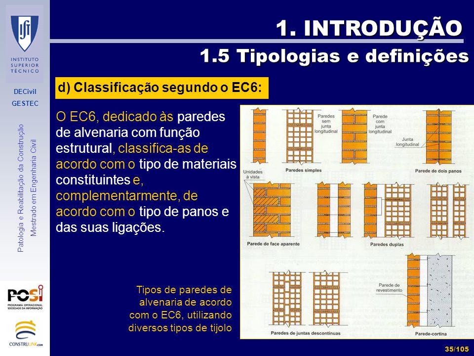 DECivil GESTEC 35/105 Patologia e Reabilitação da Construção Mestrado em Engenharia Civil 1. INTRODUÇÃO O EC6, dedicado às paredes de alvenaria com fu