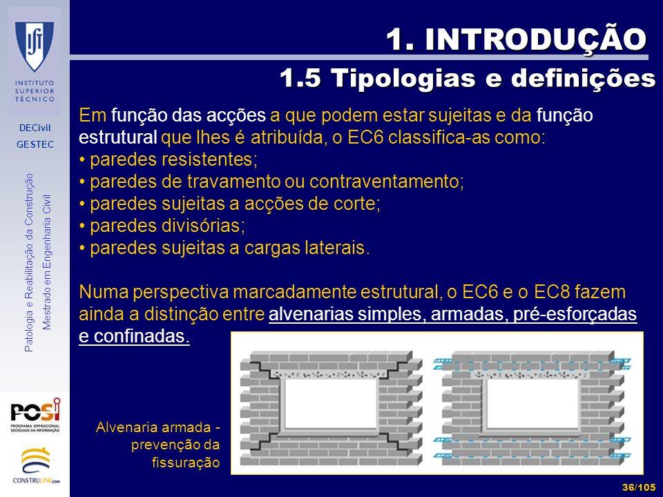 DECivil GESTEC 36/105 Patologia e Reabilitação da Construção Mestrado em Engenharia Civil 1. INTRODUÇÃO Em função das acções a que podem estar sujeita
