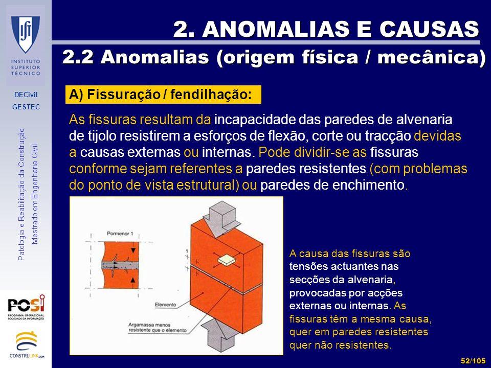 DECivil GESTEC 52/105 Patologia e Reabilitação da Construção Mestrado em Engenharia Civil 2. ANOMALIAS E CAUSAS 2.2 Anomalias (origem física / mecânic