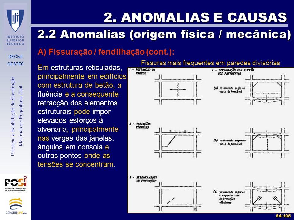 DECivil GESTEC 54/105 Patologia e Reabilitação da Construção Mestrado em Engenharia Civil 2. ANOMALIAS E CAUSAS 2.2 Anomalias (origem física / mecânic