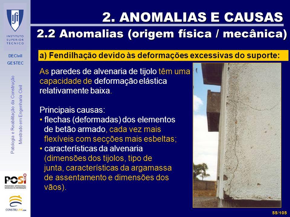 DECivil GESTEC 55/105 Patologia e Reabilitação da Construção Mestrado em Engenharia Civil 2. ANOMALIAS E CAUSAS 2.2 Anomalias (origem física / mecânic