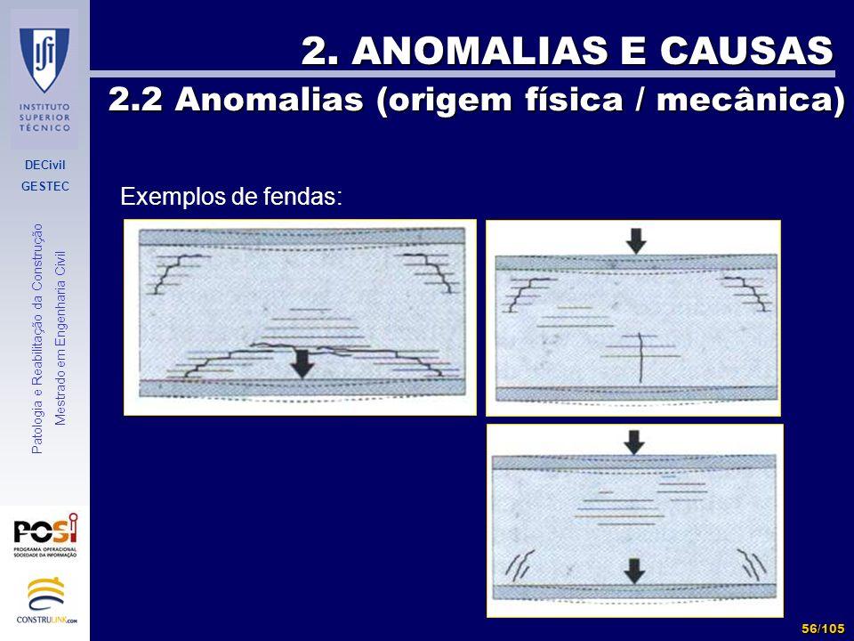 DECivil GESTEC 56/105 Patologia e Reabilitação da Construção Mestrado em Engenharia Civil 2. ANOMALIAS E CAUSAS 2.2 Anomalias (origem física / mecânic