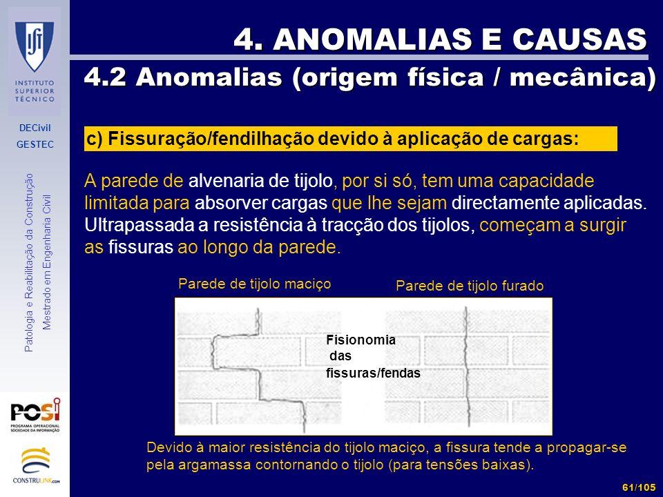 DECivil GESTEC 61/105 Patologia e Reabilitação da Construção Mestrado em Engenharia Civil 4. ANOMALIAS E CAUSAS 4.2 Anomalias (origem física / mecânic