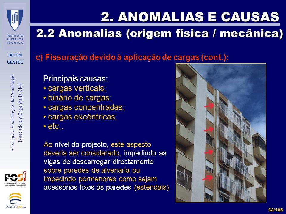 DECivil GESTEC 63/105 Patologia e Reabilitação da Construção Mestrado em Engenharia Civil 2. ANOMALIAS E CAUSAS 2.2 Anomalias (origem física / mecânic