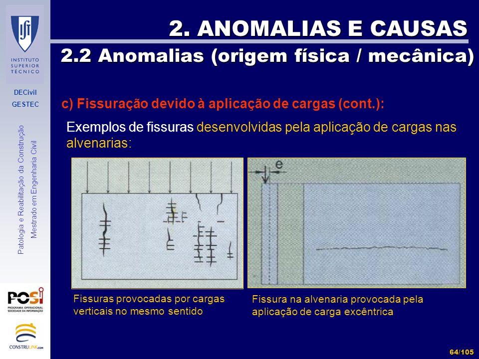 DECivil GESTEC 64/105 Patologia e Reabilitação da Construção Mestrado em Engenharia Civil 2. ANOMALIAS E CAUSAS 2.2 Anomalias (origem física / mecânic