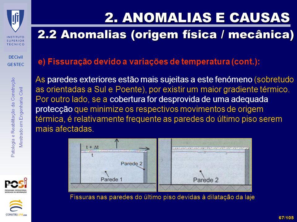 DECivil GESTEC 67/105 Patologia e Reabilitação da Construção Mestrado em Engenharia Civil 2. ANOMALIAS E CAUSAS 2.2 Anomalias (origem física / mecânic