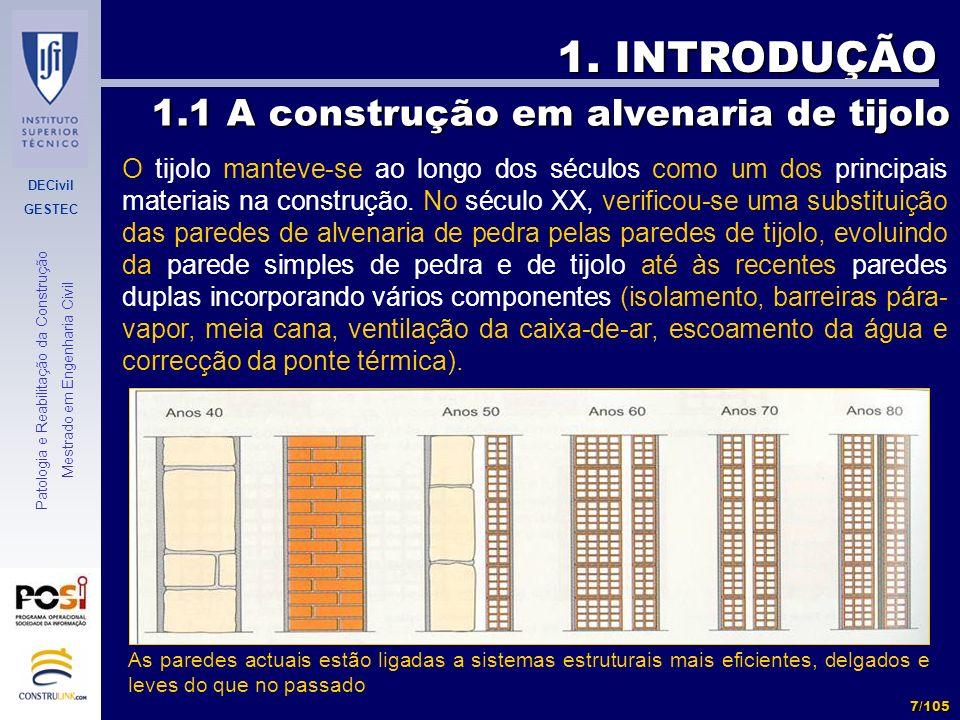 DECivil GESTEC 7/105 Patologia e Reabilitação da Construção Mestrado em Engenharia Civil 1. INTRODUÇÃO O tijolo manteve-se ao longo dos séculos como u