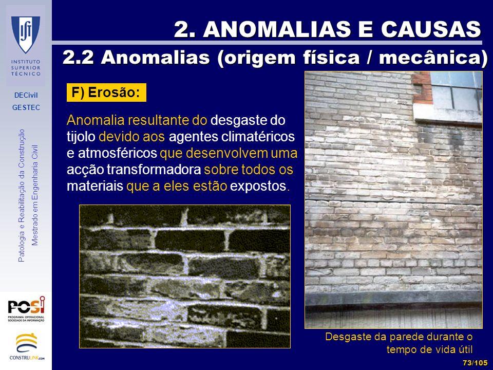 DECivil GESTEC 73/105 Patologia e Reabilitação da Construção Mestrado em Engenharia Civil 2. ANOMALIAS E CAUSAS 2.2 Anomalias (origem física / mecânic
