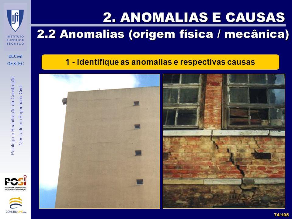 DECivil GESTEC 74/105 Patologia e Reabilitação da Construção Mestrado em Engenharia Civil 2. ANOMALIAS E CAUSAS 2.2 Anomalias (origem física / mecânic