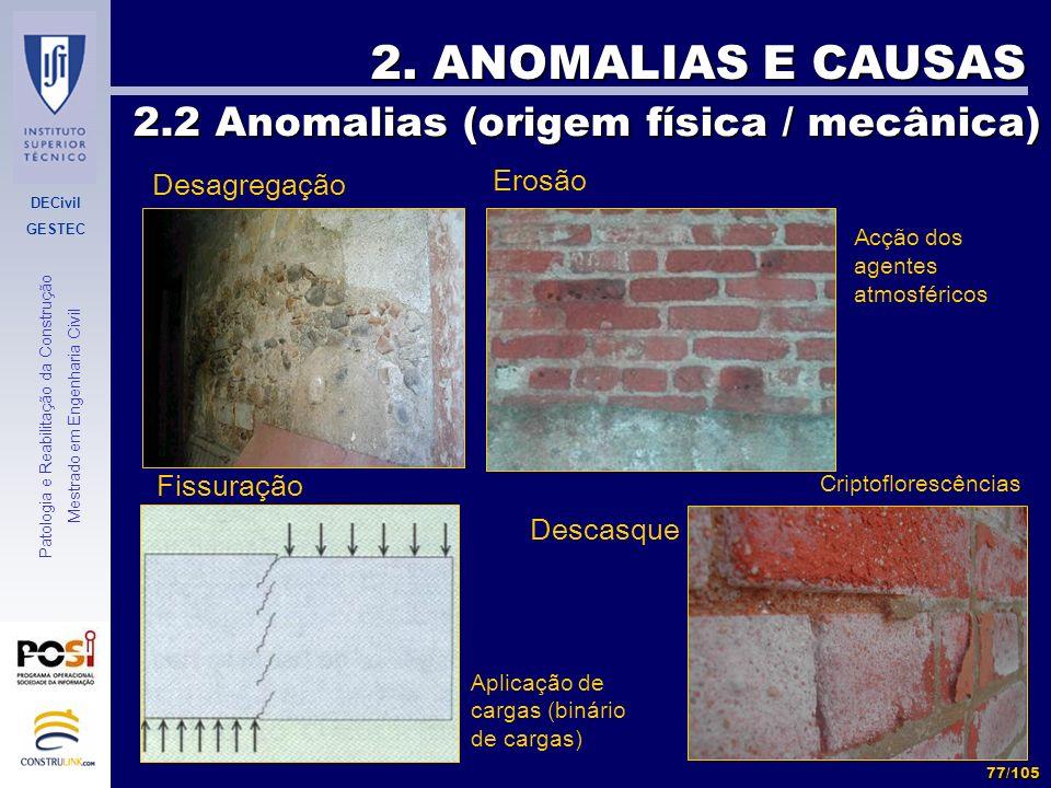 DECivil GESTEC 77/105 Patologia e Reabilitação da Construção Mestrado em Engenharia Civil 2. ANOMALIAS E CAUSAS 2.2 Anomalias (origem física / mecânic