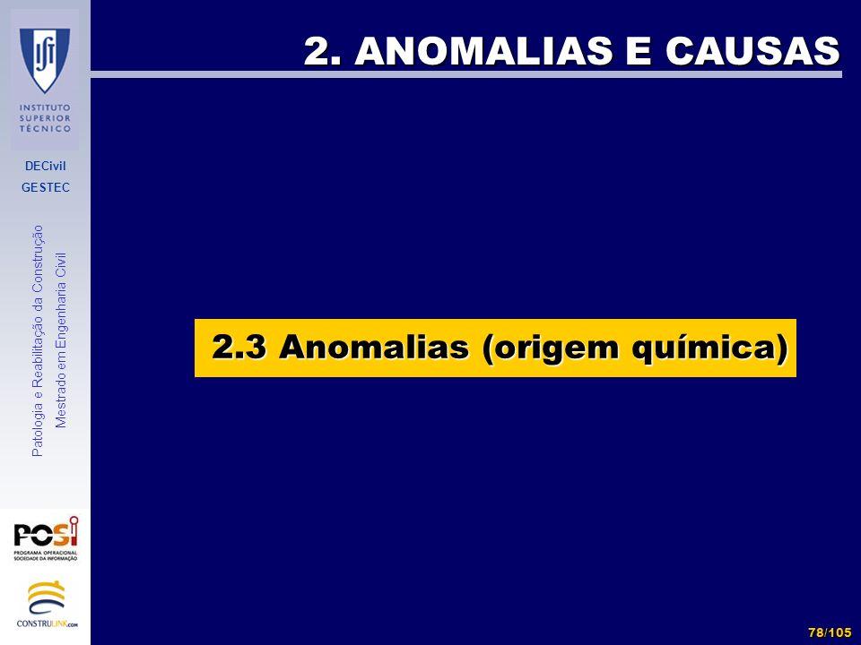 DECivil GESTEC 78/105 Patologia e Reabilitação da Construção Mestrado em Engenharia Civil 2. ANOMALIAS E CAUSAS 2.3 Anomalias (origem química)