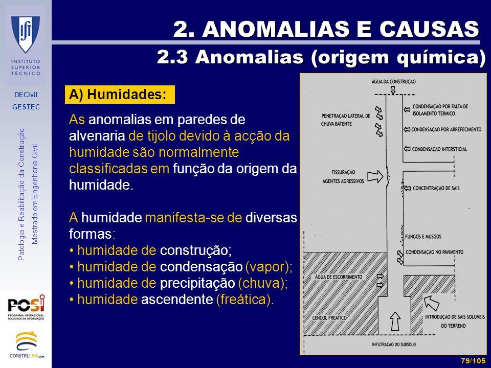 DECivil GESTEC 79/105 Patologia e Reabilitação da Construção Mestrado em Engenharia Civil 2. ANOMALIAS E CAUSAS A) Humidades: As anomalias em paredes