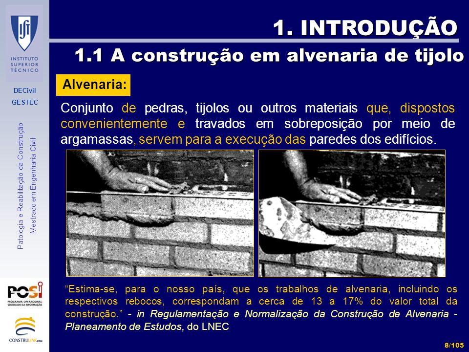 DECivil GESTEC 8/105 Patologia e Reabilitação da Construção Mestrado em Engenharia Civil 1. INTRODUÇÃO Conjunto de pedras, tijolos ou outros materiais
