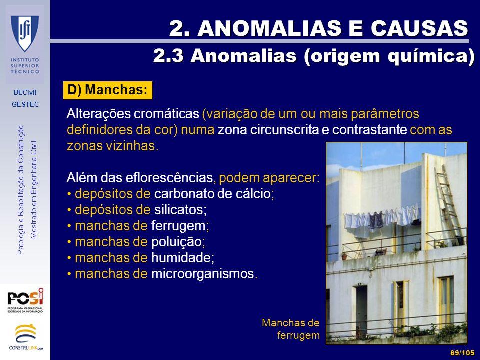 DECivil GESTEC 89/105 Patologia e Reabilitação da Construção Mestrado em Engenharia Civil 2. ANOMALIAS E CAUSAS 2.3 Anomalias (origem química) 2.3 Ano
