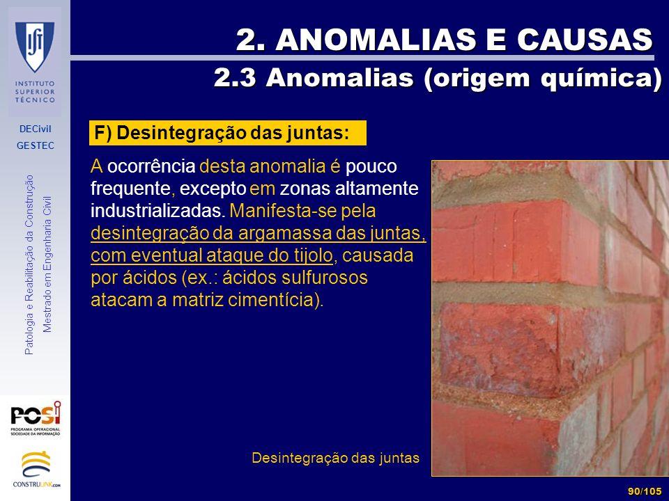 DECivil GESTEC 90/105 Patologia e Reabilitação da Construção Mestrado em Engenharia Civil 2. ANOMALIAS E CAUSAS 2.3 Anomalias (origem química) 2.3 Ano