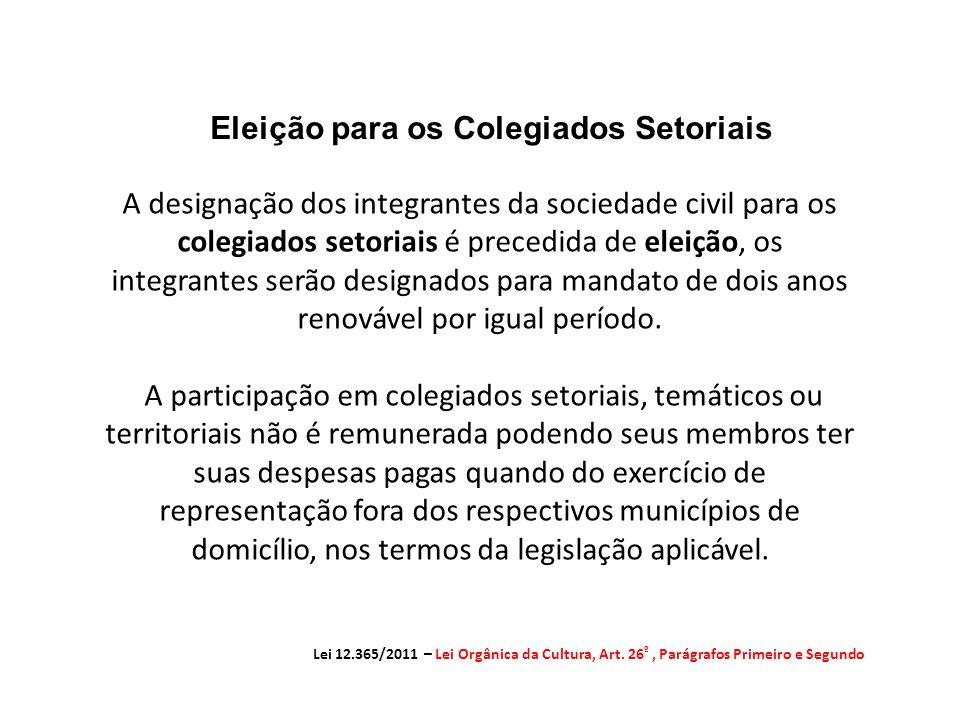 Eleição para os Colegiados Setoriais Lei 12.365/2011 – Lei Orgânica da Cultura, Art.