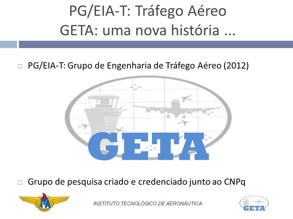 PG/EIA-T: Grupo de Engenharia de Tráfego Aéreo (2012) Grupo de pesquisa criado e credenciado junto ao CNPq INSTITUTO TECNOLÓGICO DE AERONÁUTICA PG/EIA-T: Tráfego Aéreo GETA: uma nova história...