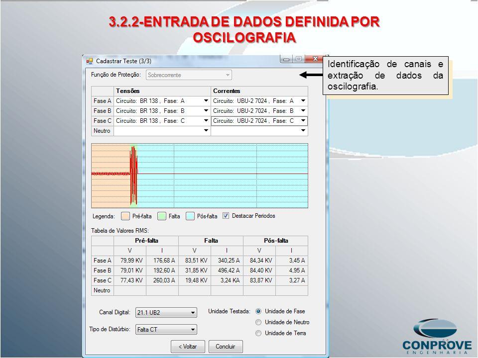 3.2.2-ENTRADA DE DADOS DEFINIDA POR OSCILOGRAFIA Identificação de canais e extração de dados da oscilografia. 11