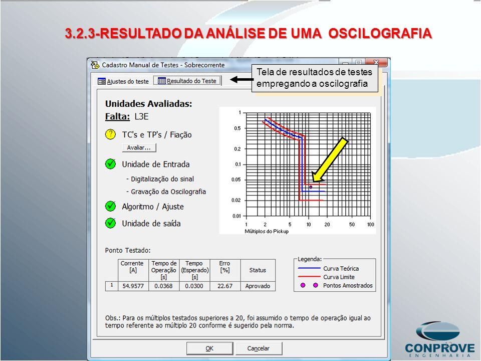 Tela de resultados de testes empregando a oscilografia 3.2.3-RESULTADO DA ANÁLISE DE UMA OSCILOGRAFIA 12