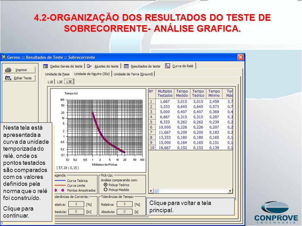 Nesta tela está apresentada a curva da unidade temporizada do relé, onde os pontos testados são comparados com os valores definidos pela norma que o r