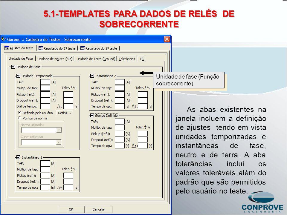 5.1-TEMPLATES PARA DADOS DE RELÉS DE SOBRECORRENTE Unidade de fase (Função sobrecorrente) As abas existentes na janela incluem a definição de ajustes