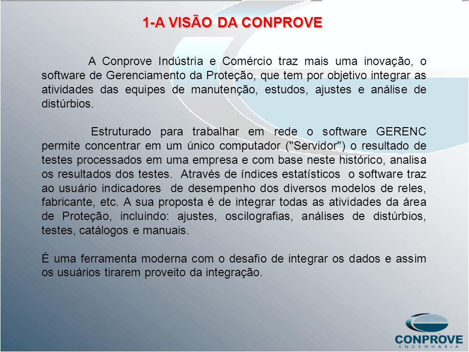 1-A VISÃO DA CONPROVE A Conprove Indústria e Comércio traz mais uma inovação, o software de Gerenciamento da Proteção, que tem por objetivo integrar a