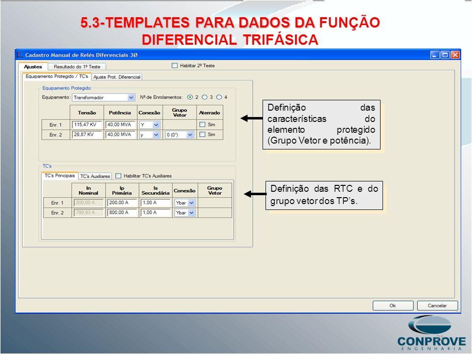 5.3-TEMPLATES PARA DADOS DA 5.3-TEMPLATES PARA DADOS DA FUNÇÃO DIFERENCIAL TRIFÁSICA Definição das características do elemento protegido (Grupo Vetor
