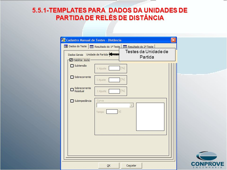 Testes da Unidade de Partida 5.5.1-TEMPLATES PARA DADOS DA UNIDADES DE PARTIDA DE RELÉS DE DISTÂNCIA 25