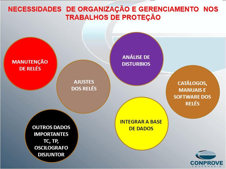NECESSIDADES DE ORGANIZAÇÃO E GERENCIAMENTO NOS TRABALHOS DE PROTEÇÃO OUTROS DADOS IMPORTANTES TC, TP, OSCILOGRAFO DISJUNTOR ANÁLISE DE DISTURBIOS INT