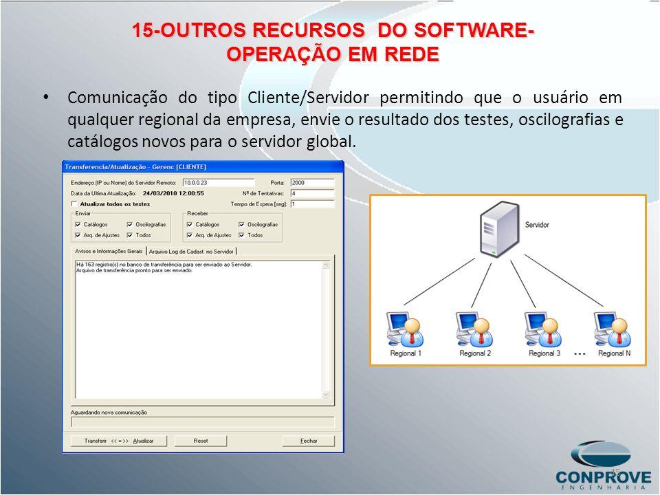 15-OUTROS RECURSOS DO SOFTWARE- OPERAÇÃO EM REDE Comunicação do tipo Cliente/Servidor permitindo que o usuário em qualquer regional da empresa, envie