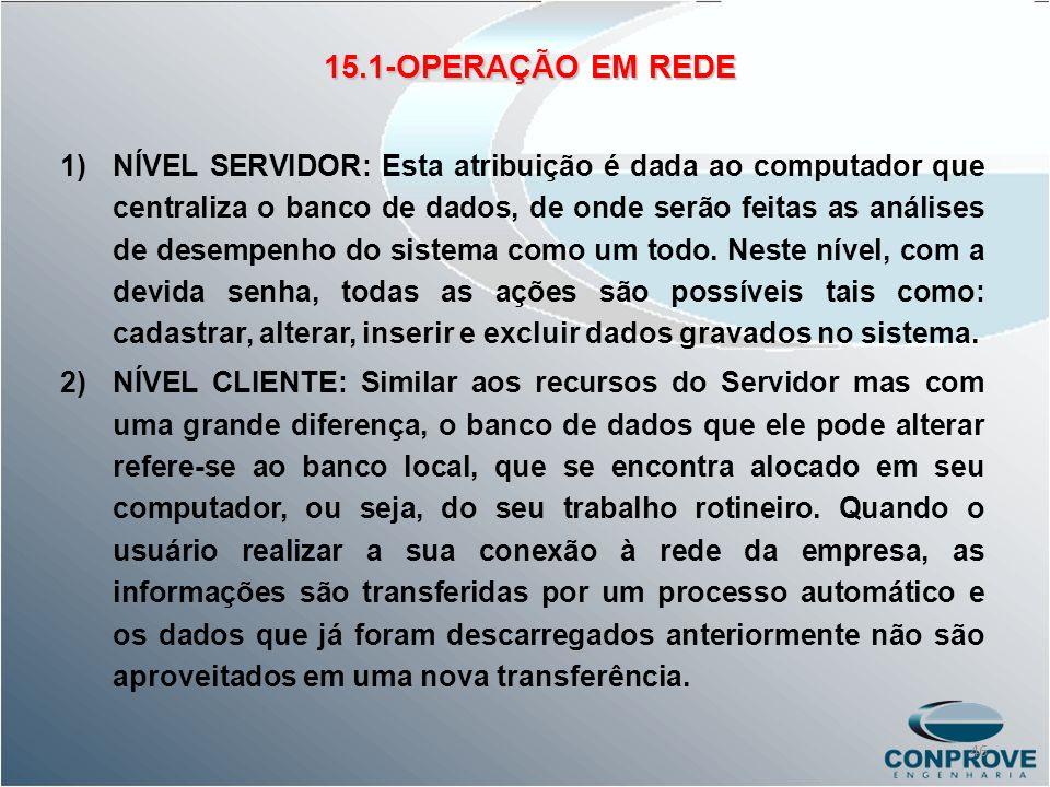 15.1-OPERAÇÃO EM REDE 1)NÍVEL SERVIDOR: Esta atribuição é dada ao computador que centraliza o banco de dados, de onde serão feitas as análises de dese